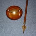 Interiérový 2 stojan - drevo zlato s tyčí