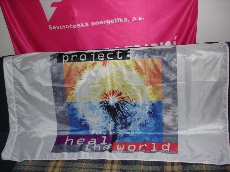 Reklamní vlajky na tyče - Heal the world